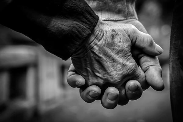 Photo of elderly couple's hands.